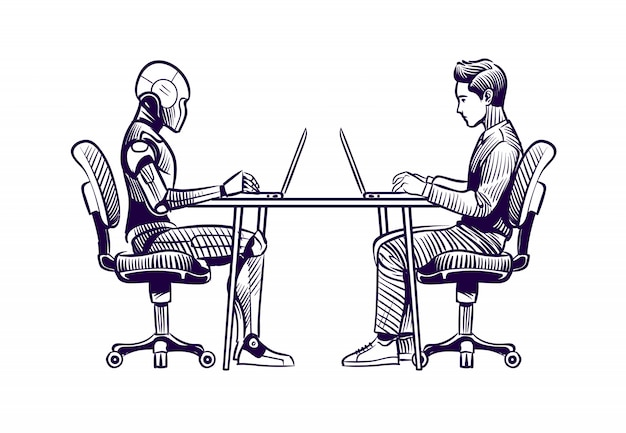 Robô humano e humanóide trabalhando com laptops na mesa
