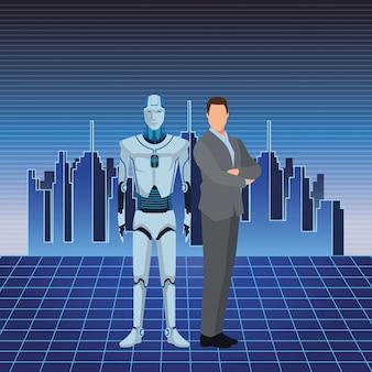 Robô humanóide e empresário