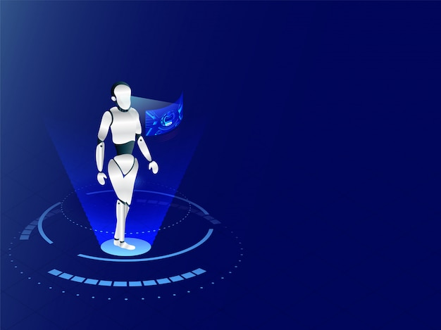 Robô humanóide trabalhando com interface de exibição virtual em ba azul