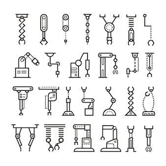 Robô industrial de fabricação, ícones de linha de braços robóticos