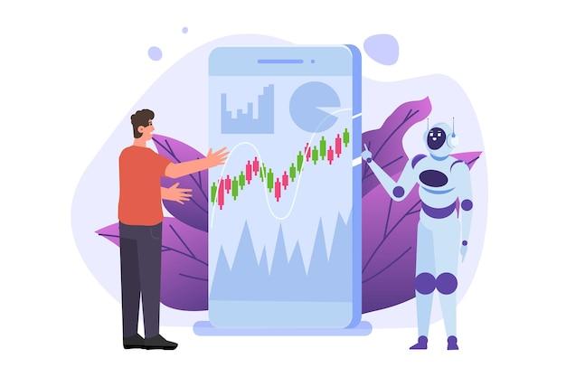 Robô investindo robo-conselheiro inteligência artificial e empresário