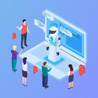 Robô isométrico de inteligência artificial com pessoas