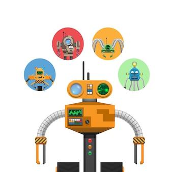 Robô mecânico laranja com indicadores e antenas