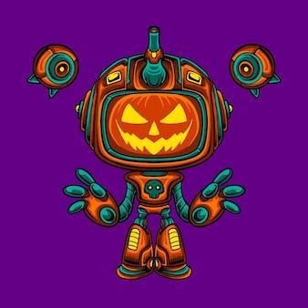 Robô mecha, personagem de abóbora de halloween
