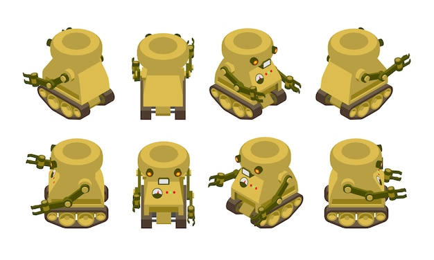 Robô militar khaki isométrico em rastreadores
