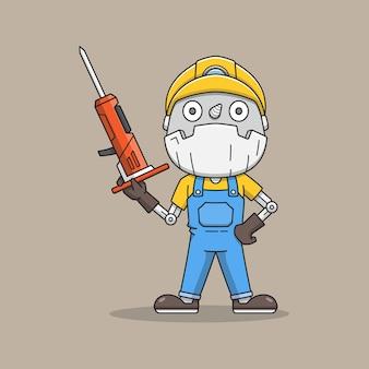 Robô mineiro fofo com ferramenta de perfuração