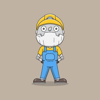 Robô mineiro fofo de uniforme
