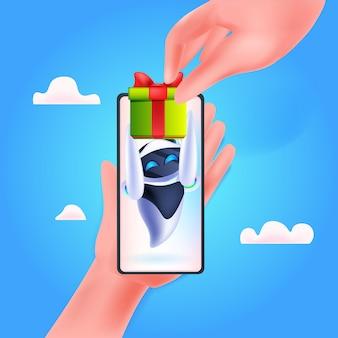 Robô moderno com caixa de presente embrulhada no aniversário da tela do smartphone ou celebração do feriado conceito de inteligência artificial ilustração vetorial de corpo inteiro