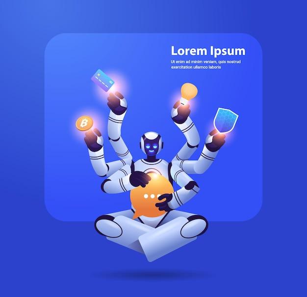 Robô moderno com muitas mãos multitarefa personagem robótico inteligência artificial