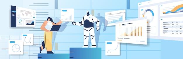 Robô moderno com mulher de negócios analisando gráficos de estatísticas e tabelas de dados financeiros analisando conceito de tecnologia de inteligência artificial ilustração vetorial horizontal de comprimento total