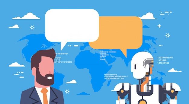 Robô moderno, comunicando-se com o homem de negócios tecnologia futurista de mecanismo de inteligência artificial