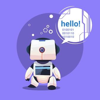 Robô moderno diz olá