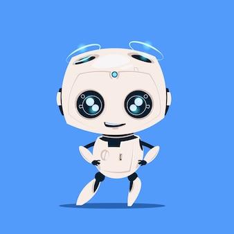 Robô moderno isolado no conceito de inteligência artificial bonito do personagem de banda desenhada do fundo azul
