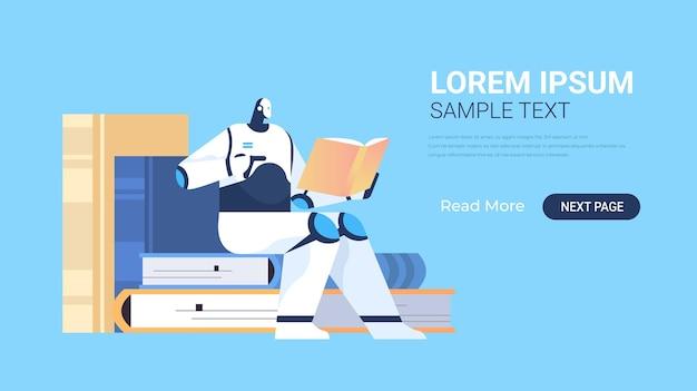 Robô moderno lendo banner de livro de aprendizado de máquina