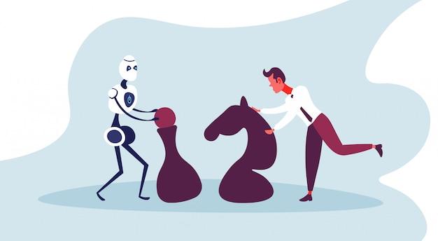 Robô moderno movendo xadrez empresário estratégia