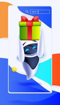 Robô moderno segurando caixa de presente embrulhada na tela do smartphone aniversário ou celebração do feriado conceito de inteligência artificial ilustração vetorial vertical de comprimento total