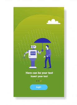 Robô moderno segurando guarda-chuva sobre empresário proteção mecanismo de inteligência artificial tecnologia assistente conceito