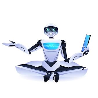 Robô moderno sentado lótus posa personagem robótico usando o conceito de tecnologia de inteligência artificial do tablet pc
