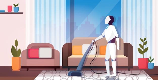 Robô moderno usando personagem robótico de aspirador de casa fazendo trabalhos domésticos
