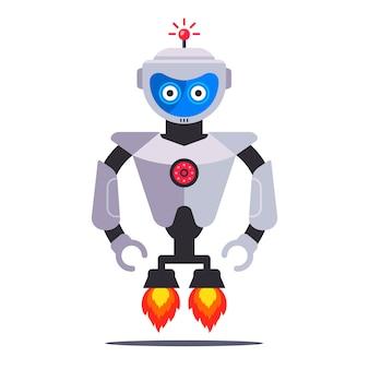 Robô moderno voador com turbinas em um fundo branco. ilustração de personagem plana.