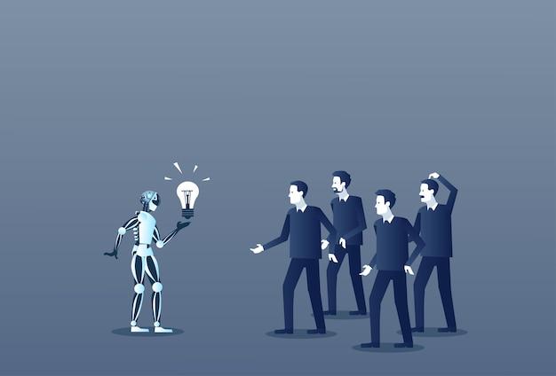 Robô, mostrando, grupo pessoas, bulbo leve, negócio