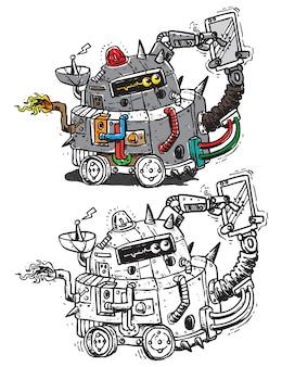 Robô móvel segurando o smartphone doodle ilustração arte