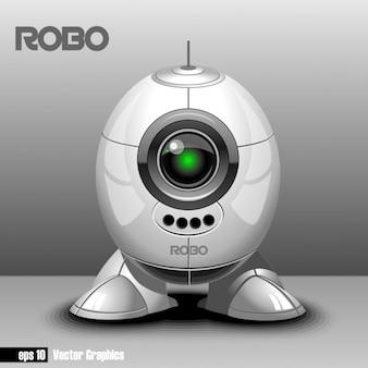 Robô no fundo cinzento