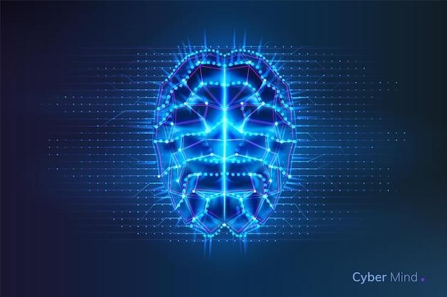 Robô ou cérebro cibernético com linhas geométricas e placa de circuito de pontos em humanos