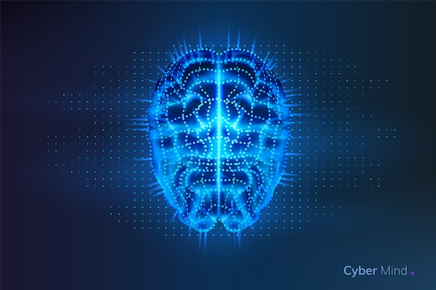 Robô ou cérebro cibernético com pontos geométricos