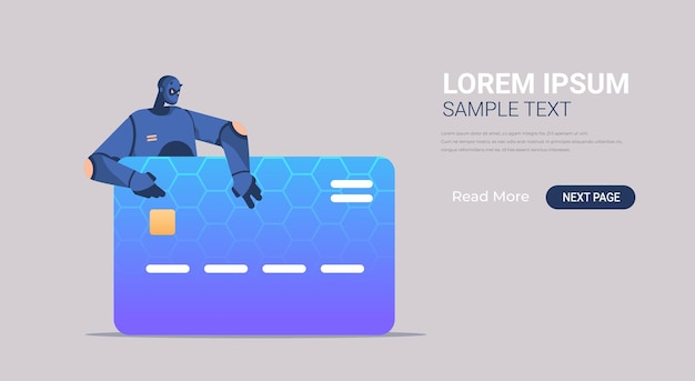 Robô preto hackeando dados de banner de cartão de crédito