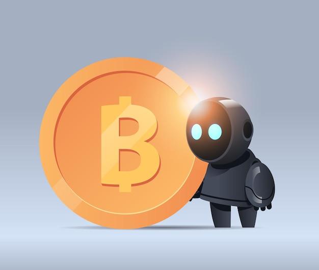 Robô preto segurando bitcoin cripto moeda dinheiro minerando receita passiva ganhos inteligência artificial