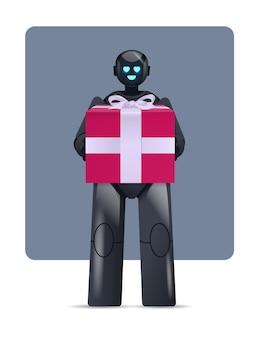 Robô preto segurando uma caixa de presente embrulhada, celebração, inteligência artificial