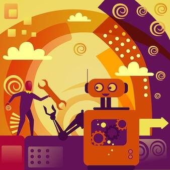 Robô que dá o conceito da inteligência artificial da tecnologia da chave inglesa do homem de negócio