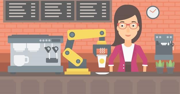 Robô que faz o café para um cliente na cafetaria.