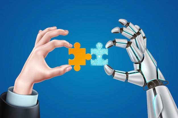 Robô realista e mãos de homem de negócios com quebra-cabeça digital