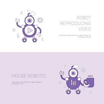 Robô reproduzindo vídeo e casa conceito robótico modelo banner web com espaço de cópia