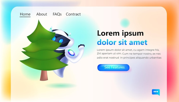 Robô segurando árvore de abeto personagem robótico celebrando férias de inverno conceito de tecnologia de inteligência artificial cópia horizontal ilustração vetorial espaço