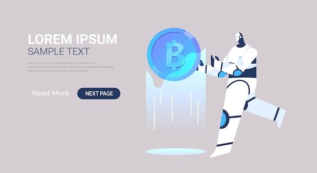 Robô segurando banner bitcoin criptomoeda