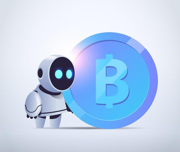Robô segurando bitcoin criptomoeda dinheiro minerando receita passiva ganhos inteligência artificial