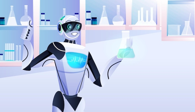 Robô segurando tubo de ensaio com químico robótico líquido fazendo experiências em laboratório de engenharia genética conceito de inteligência artificial laboratório moderno retrato interior horizontal