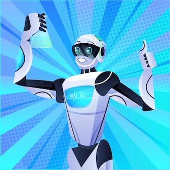 Robô segurando tubo de ensaio com químico robótico líquido fazendo experimentos no conceito de inteligência artificial de engenharia genética de laboratório