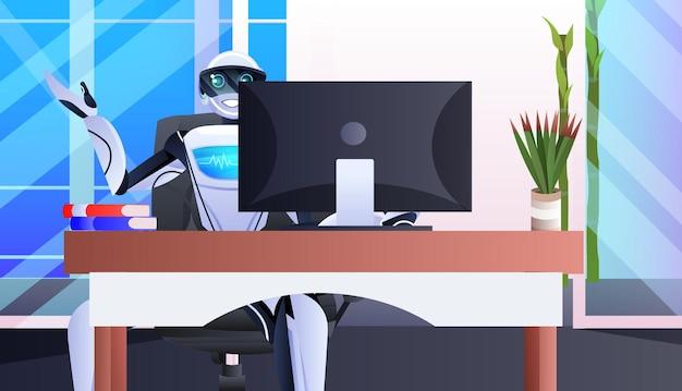 Robô sentado no local de trabalho empresário robótico trabalhando no conceito de tecnologia de inteligência artificial de escritório horizontal