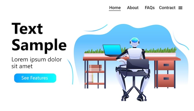 Robô sentado no local de trabalho empresário robótico trabalhando no escritório conceito de tecnologia de inteligência artificial cópia espaço horizontal completo