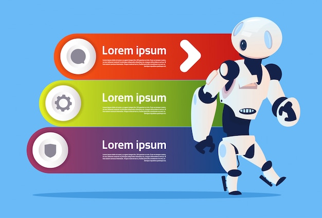 Robô sobre a tecnologia moderna da robótica de infographics do molde e o conceito da inteligência artificial