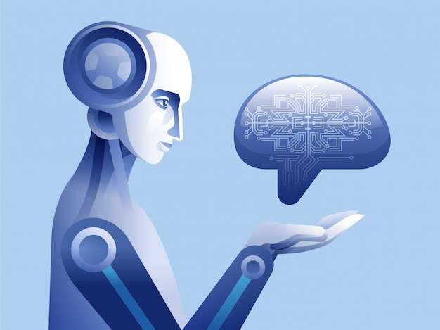 Robô tocando o cérebro humano digital