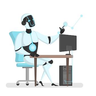 Robô trabalhando com computador e realidade virtual.