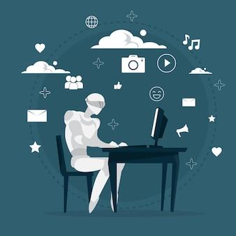 Robô trabalhando no computador