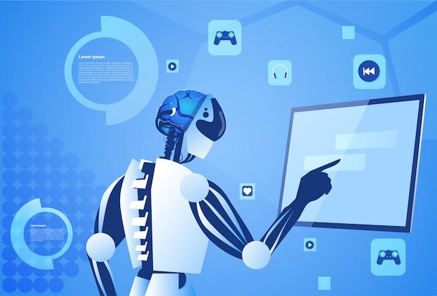 Robô trabalhando tela digital