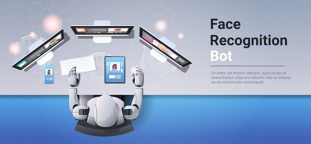 Robô usando dispositivos digitais rosto digitalização reconhecimento reconhecimento bot sistema de segurança identificação artificial