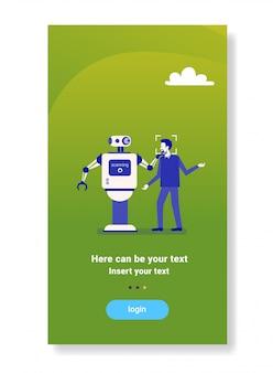 Robô, varredura, cara, homem, obtendo, acesso, rosto, identificação, varredura, biometric, tecnologia, sistema reconhecimento, conceito